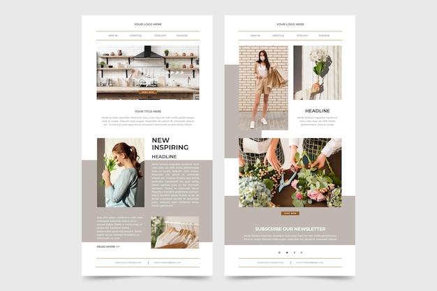 Pack De Modèles D'e-mails Blogger Avec Photos Vecteur gratuit