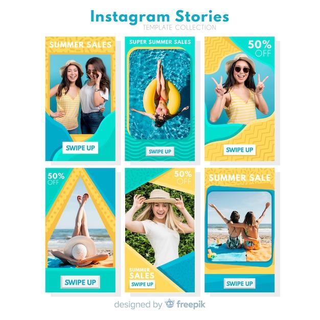 Pack de modèles d'histoires d'instagram de vente d'été Vecteur gratuit