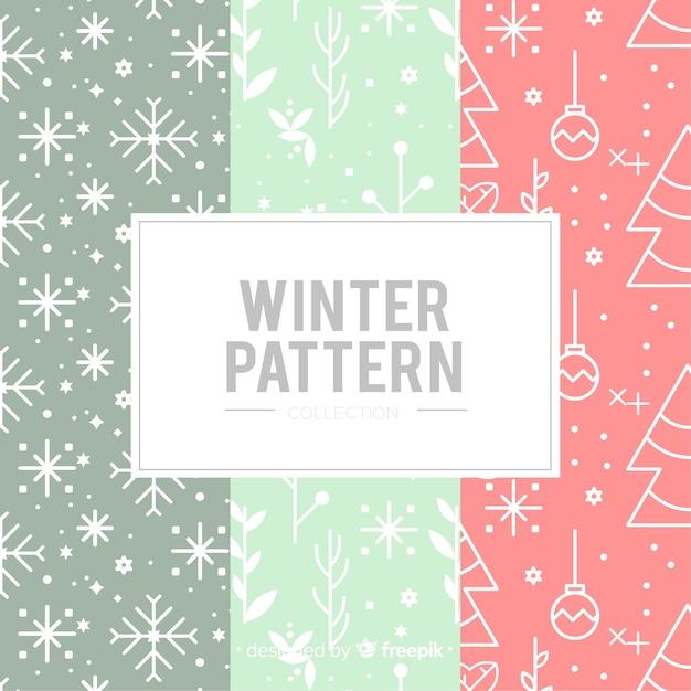 Pack de modèles d'hiver plat Vecteur gratuit