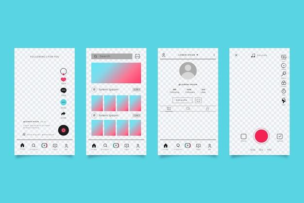Pack De Modèles D'interface D'application Tiktok Vecteur gratuit