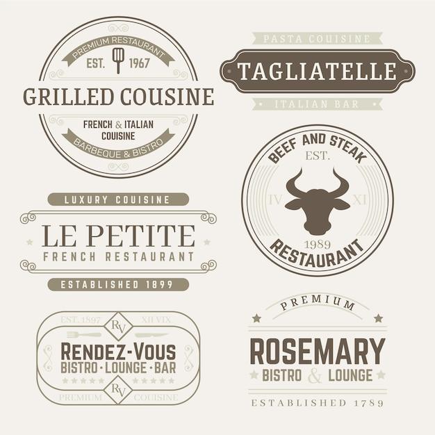Pack de modèles de logo restaurant rétro Vecteur gratuit