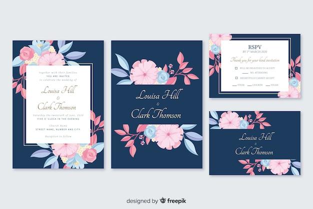 Pack de modèles de papeterie floral dessinés à la main Vecteur gratuit