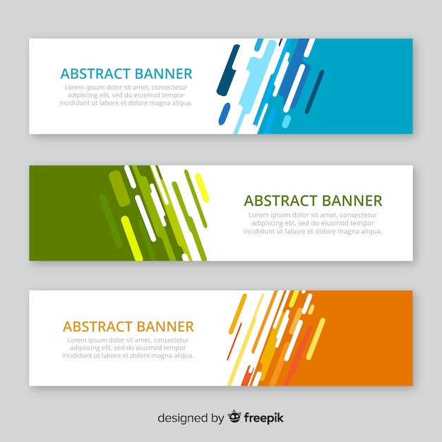 Pack Moderne De Bannières Abstraites Au Design Plat Vecteur Premium