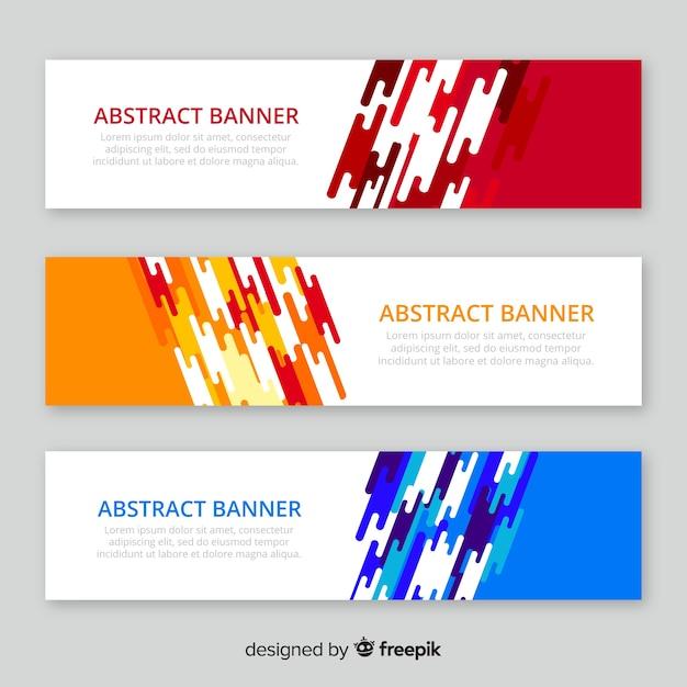 Pack moderne de bannières abstraites au design plat Vecteur gratuit