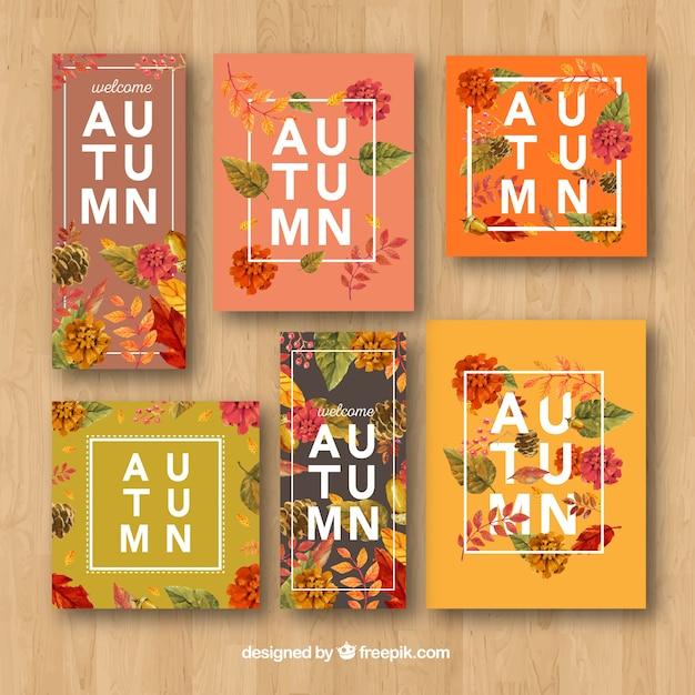 Pack moderne de cartes d'automne floral Vecteur gratuit