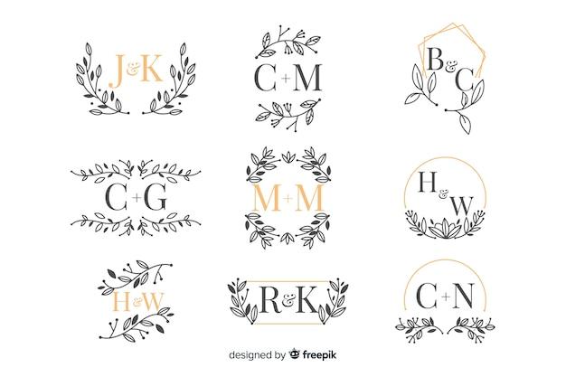 Pack de monogramme de mariage ornemental Vecteur gratuit