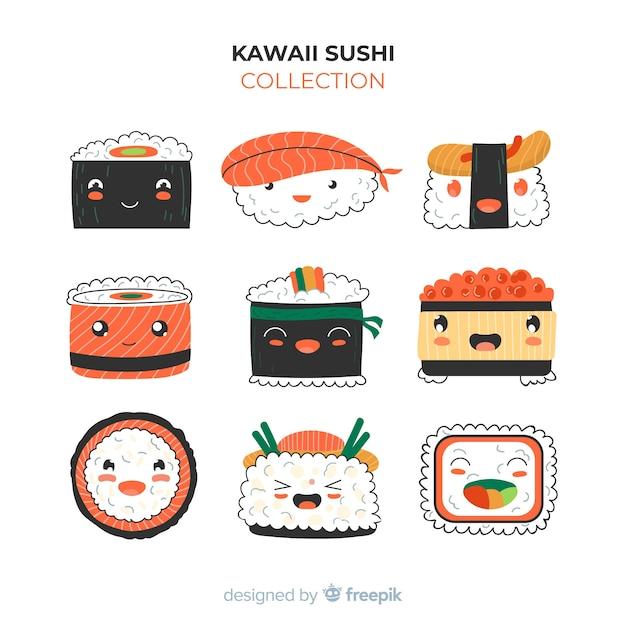 Pack de morceaux de sushi kawaii Vecteur gratuit