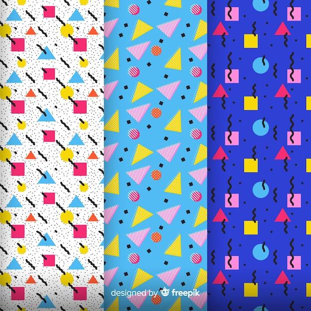 Pack de motifs colorés memphis Vecteur gratuit