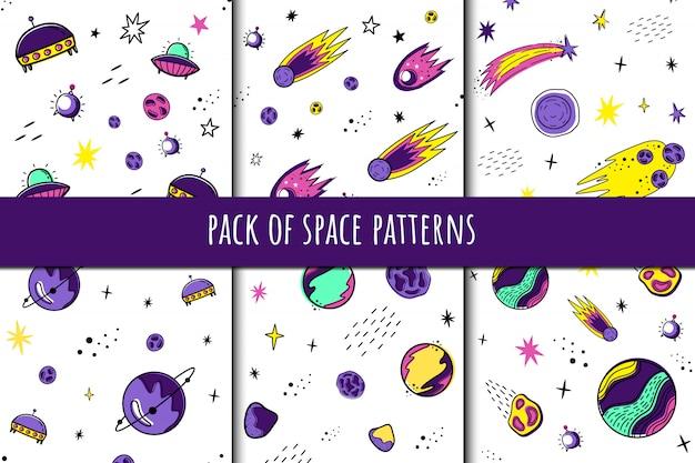 Pack de motifs d'espace Vecteur Premium