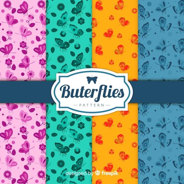 Pack de motifs de papillons plats colorés Vecteur gratuit