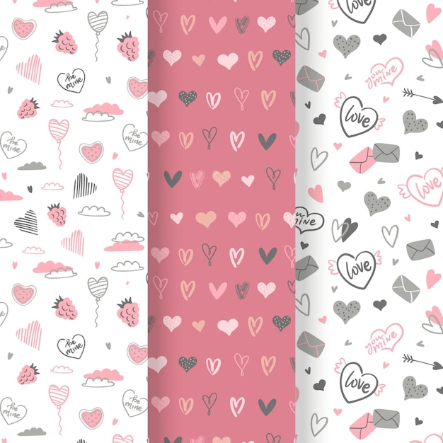 Pack De Motifs De La Saint-valentin Dessinés à La Main Vecteur gratuit