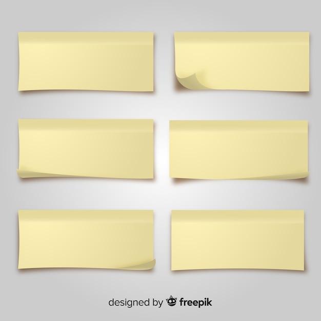 Pack de notes postales dans un style réaliste Vecteur gratuit
