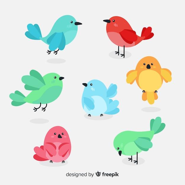 Pack d'oiseaux dessinés à la main Vecteur gratuit