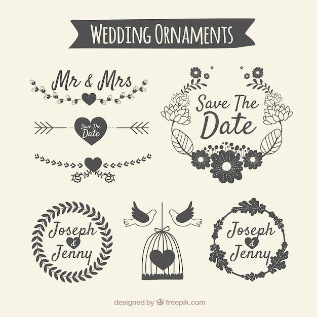 Pack d'ornement de mariage Vecteur gratuit