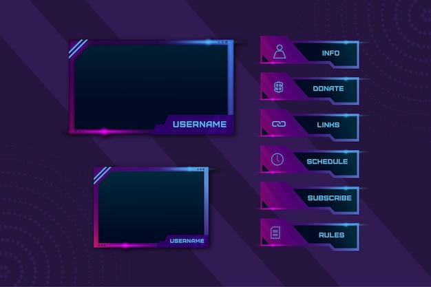 Pack De Panneaux De Flux Twitch Vecteur Premium