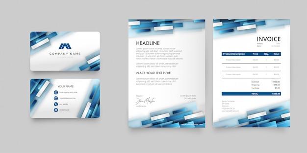 Pack De Papeterie D'affaires Moderne Avec Des Formes Bleues Abstraites Vecteur gratuit