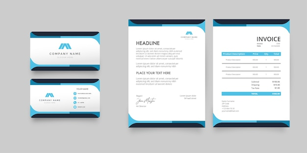 Pack De Papeterie D'affaires Moderne Avec Des Formes Bleues Vecteur gratuit
