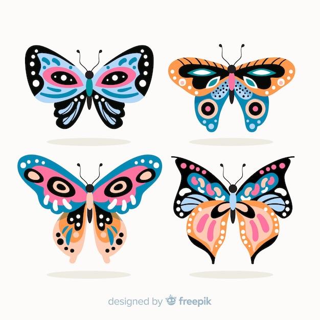 Pack Papillon Décoré à Plat Vecteur gratuit