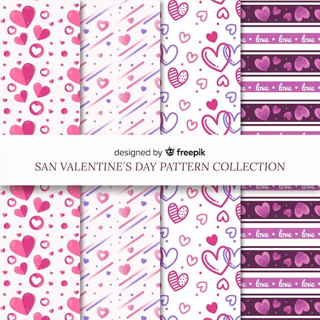 Pack de patrons saint valentin coeurs et lignes Vecteur gratuit