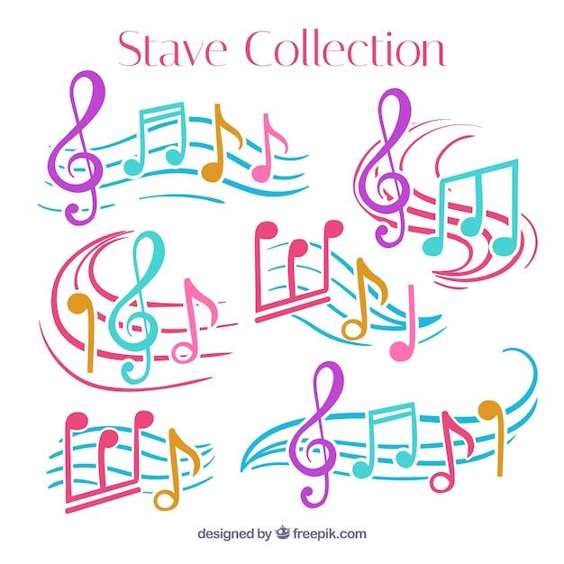 Pack De Pentagrammes Avec Des Notes Musicales Colorées Vecteur gratuit