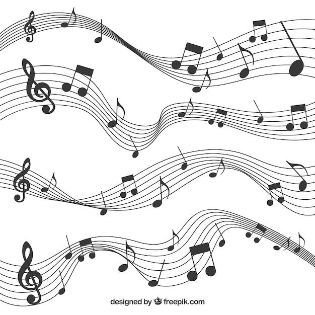 Pack de pentagrammes avec des notes de musique noires Vecteur gratuit