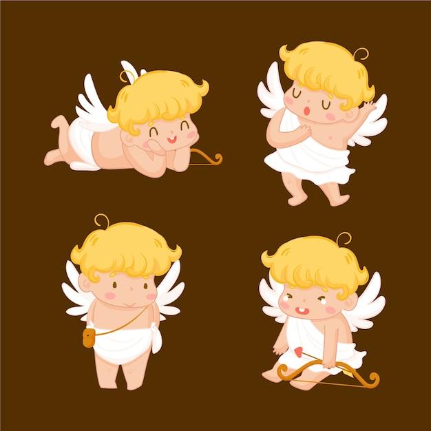 Pack de personnages cupidon dessinés à la main Vecteur gratuit
