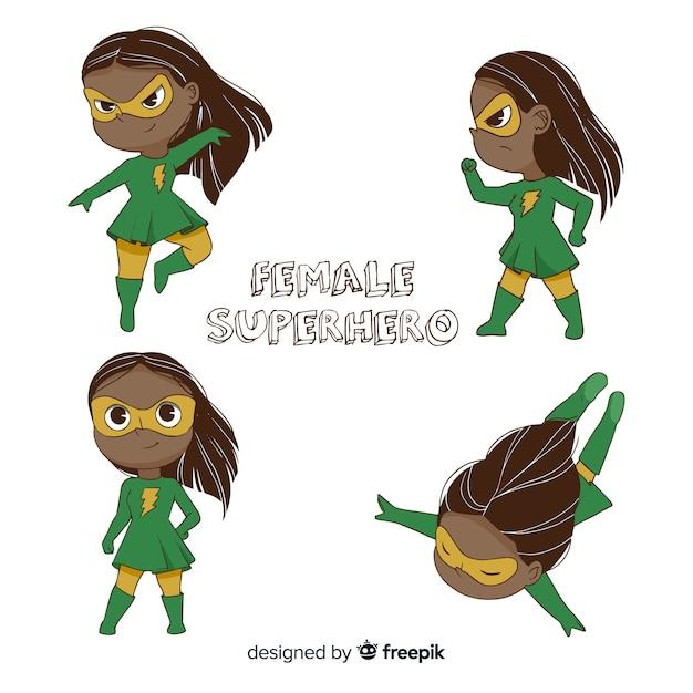 Pack de personnages féminins de super-héros en style cartoon Vecteur gratuit