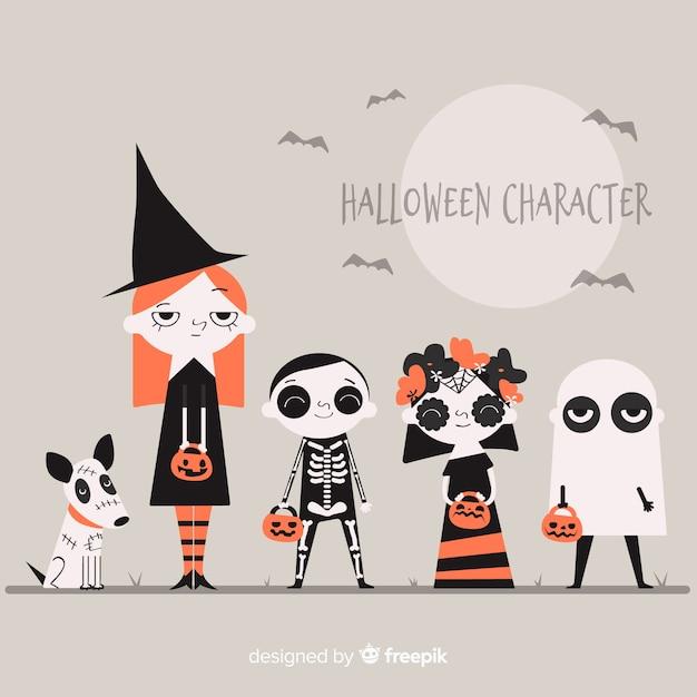 Pack de personnages d'halloween Vecteur gratuit