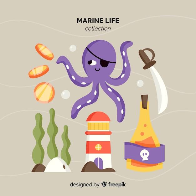 Pack de personnages marins dessinés à la main Vecteur gratuit