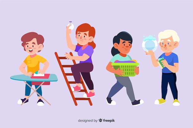 Pack de personnages minimalistes illustrés effectuant des travaux ménagers Vecteur gratuit