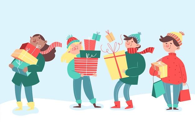 Pack de personnes avec des cadeaux Vecteur gratuit