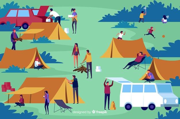 Pack de personnes camping design plat Vecteur gratuit