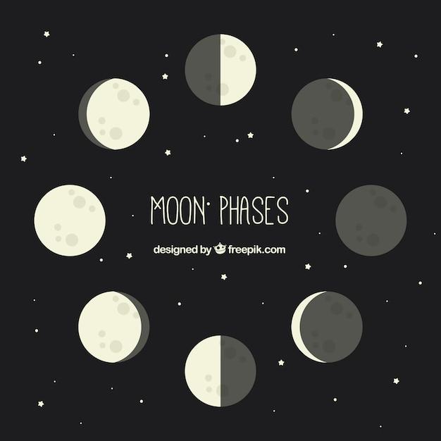 Pack de phases de lune dans la conception plate Vecteur gratuit