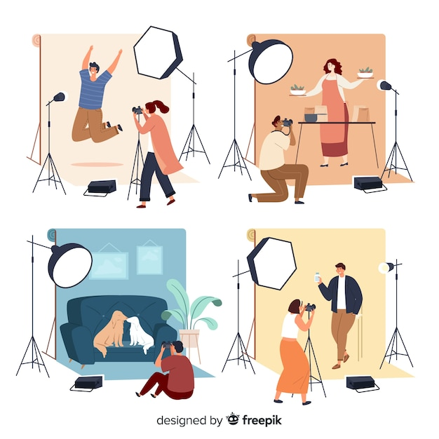 Pack de photographe travaillant à plat Vecteur gratuit