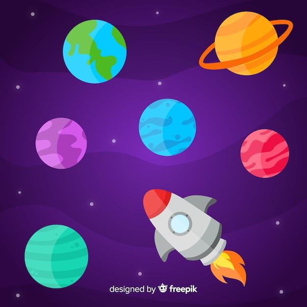 Pack De Planètes Design Plat Vecteur gratuit