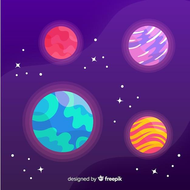Pack De Planètes Dessinées à La Main Vecteur gratuit