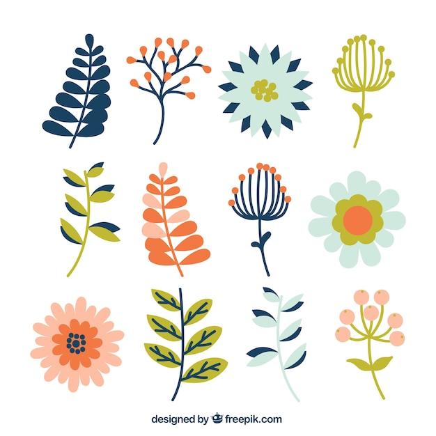 pack plat de diff rents types de plantes et de fleurs t l charger des vecteurs gratuitement. Black Bedroom Furniture Sets. Home Design Ideas