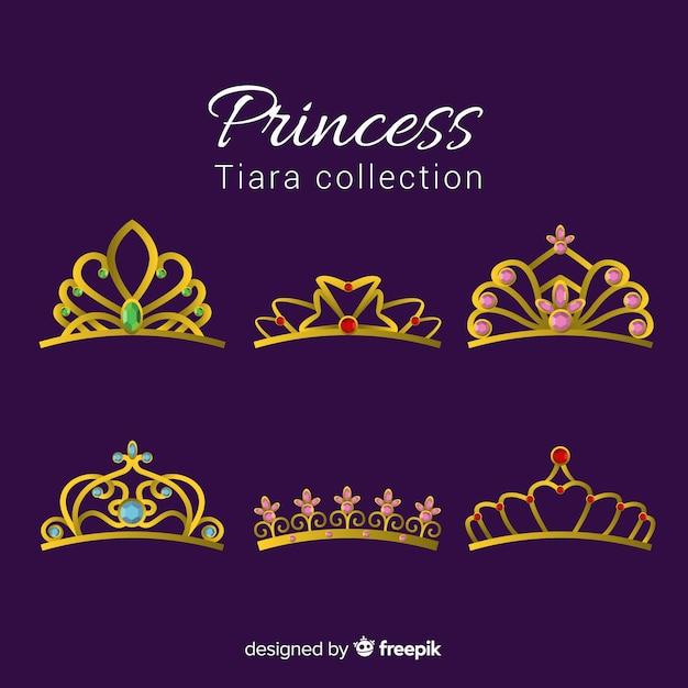 Pack princesse diadème d'or Vecteur gratuit