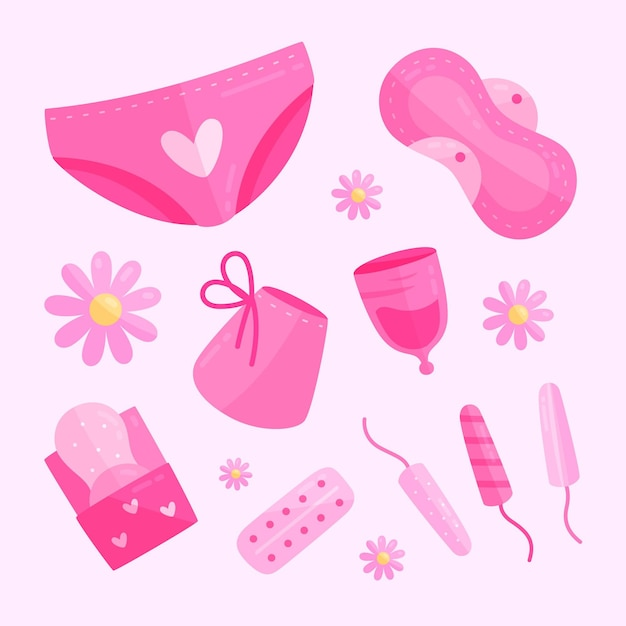 Pack De Produits D'hygiène Féminine Vecteur Premium