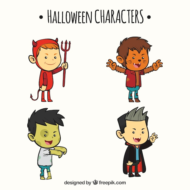 Pack de quatre enfants déguisés en personnages de halloween Vecteur gratuit