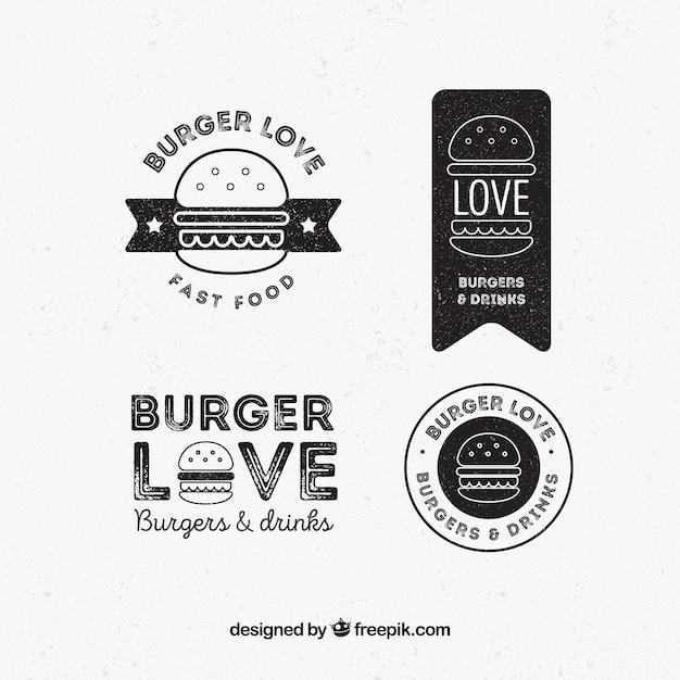 Pack de quatre logos de hamburger en style rétro Vecteur gratuit