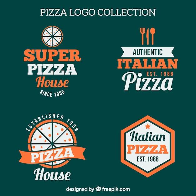 Pack De Quatre Logos De Pizza Vintage Vecteur gratuit