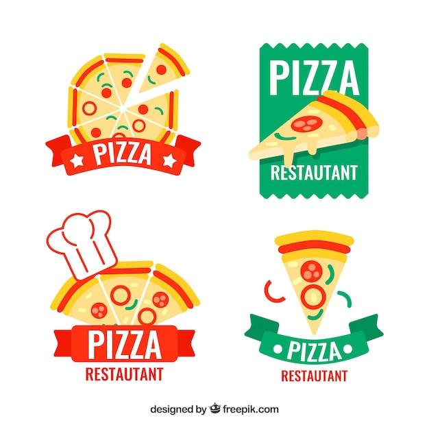 Pack De Quatre Logos De Pizza Vecteur Premium