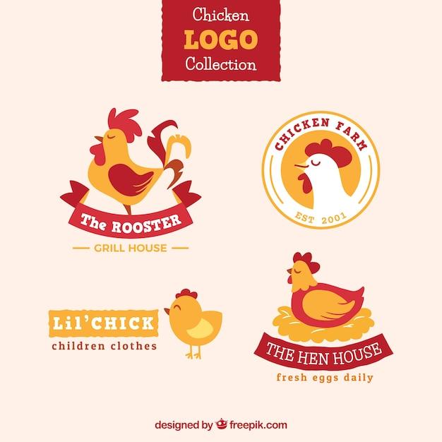 Pack De Quatre Logos De Poulet Colorés Vecteur gratuit