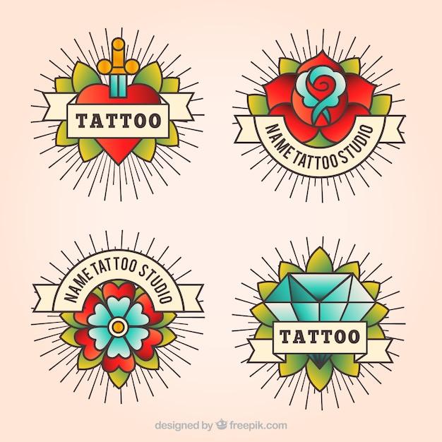 Pack De Quatre Tatouages vintage En Style Linéaire Vecteur gratuit