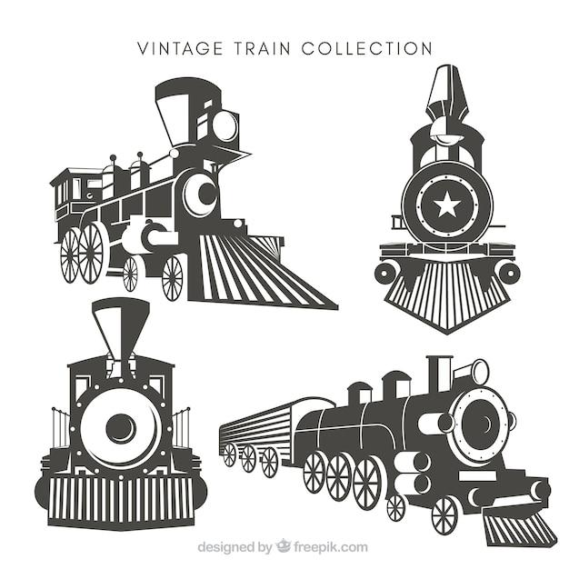 Pack De Quatre Trains Vintage Vecteur gratuit