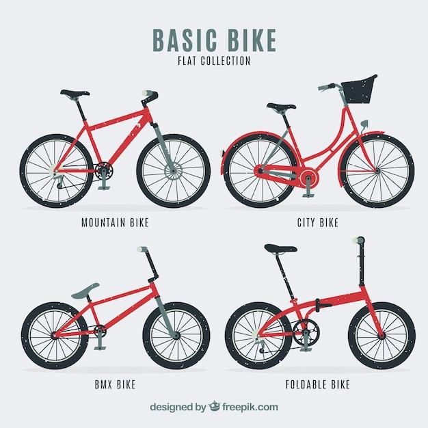 Pack De Quatre Types De Bicyclettes Rétro Vecteur gratuit