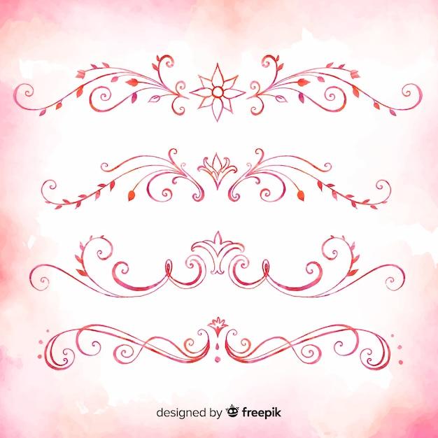 Pack rose de diviseurs d'ornement dessinés à la main Vecteur gratuit