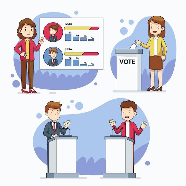 Pack De Scènes De Campagne électorale Vecteur Premium