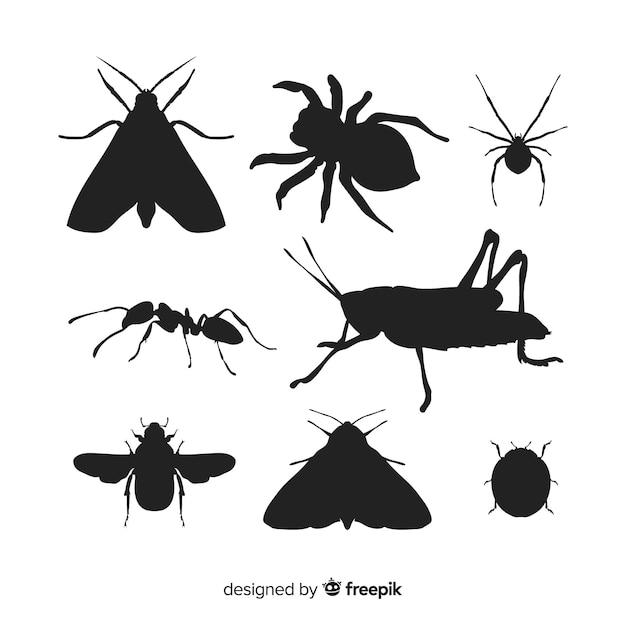 Pack silhouette insecte Vecteur gratuit
